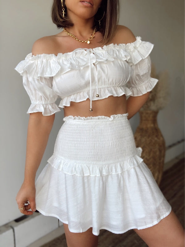 Issa Vibe Crop Top & Skirt Set | White