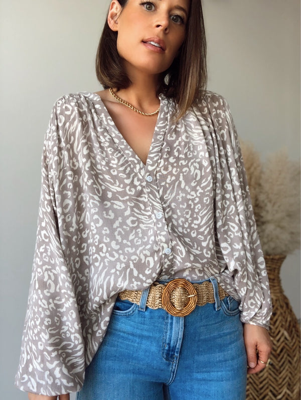 Ariana Leopard Button Down Top | Taupe