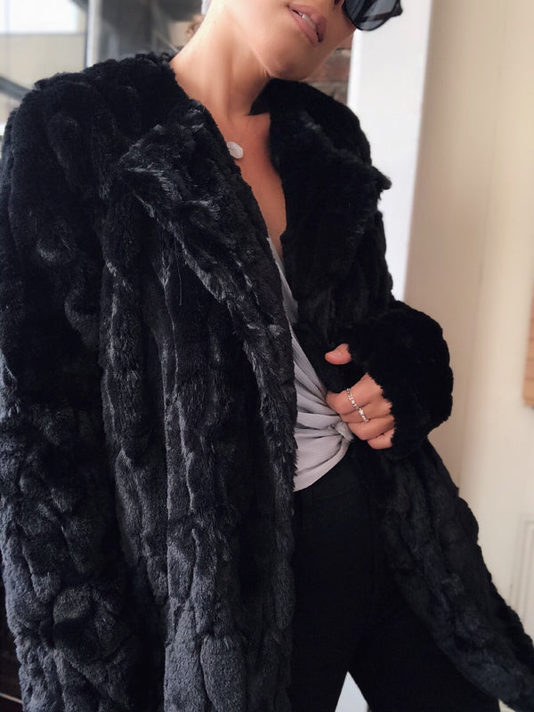 Yelena Mink Faux Fur Jacket - Black-jacket-she & sky-AMQN Boutique