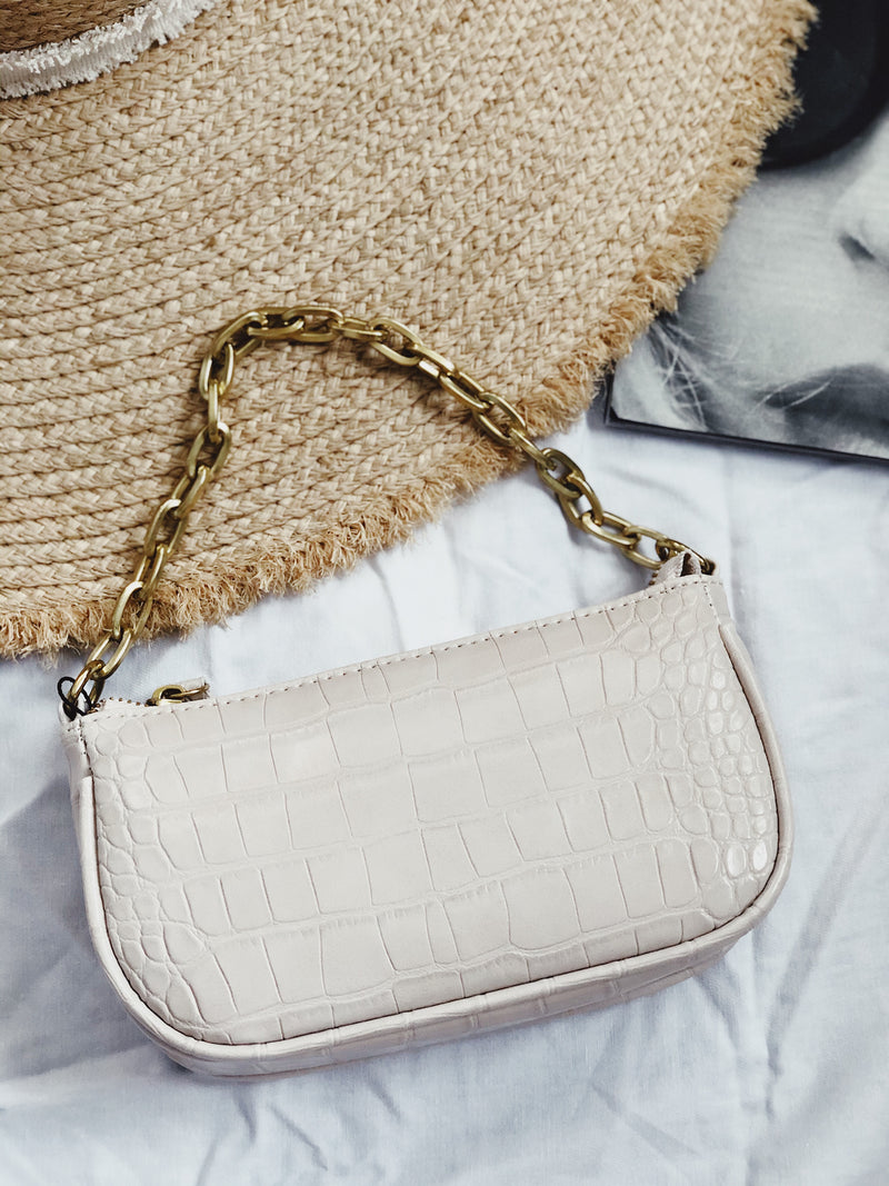 Mona Beige  Mini Croc Bag | Womens | Handbags | amannequin