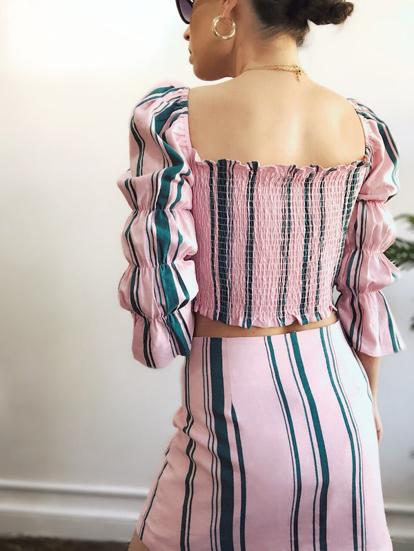 Summer Days Pink Striped Button Front Mini Skirt - amannequin - amannequin