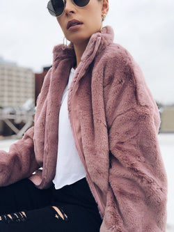 Bae Mauve Zip Up Faux Fur Jacket - amannequin - amannequin