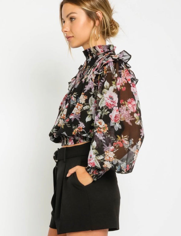 Elaina Floral Mock Neck Blouse