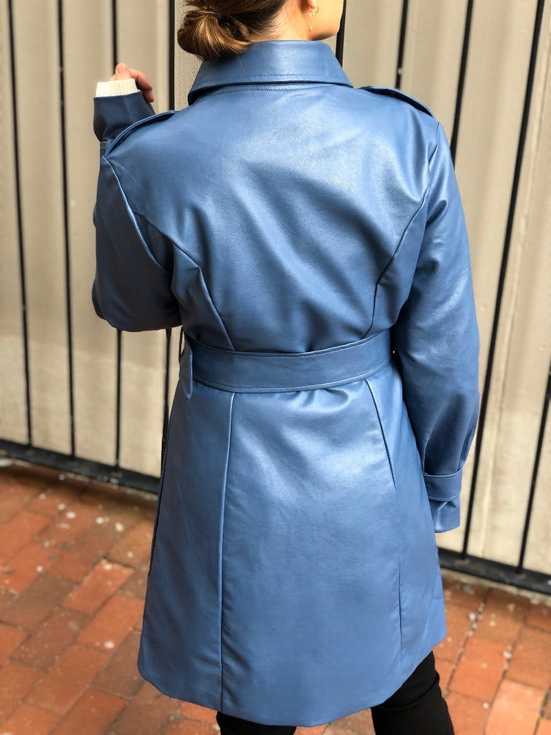 Blue Moon Vegan Leather Trench Coat - Blue - amannequin - amannequin