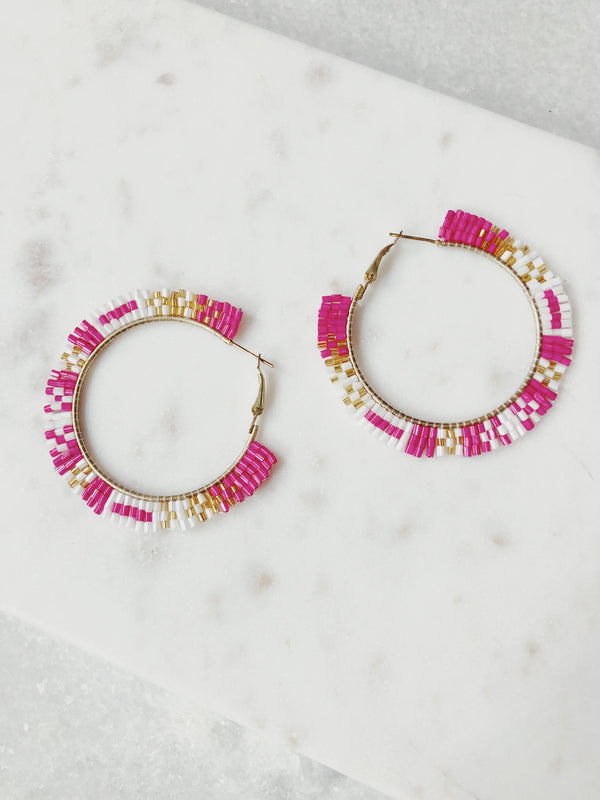 Dana Beaded Hoop Earrings - amannequin - amannequin