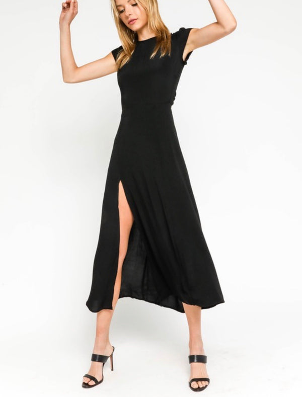 Haley Open Back Midi Dress - Black