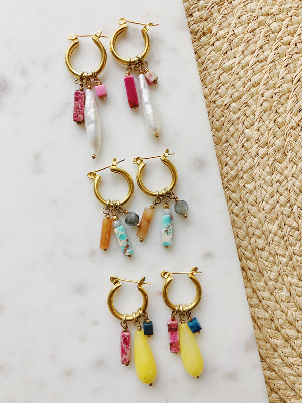 Venice Colorful Stone Pendant Hoop Earrings | Gold Hoops | Womens | amannequin