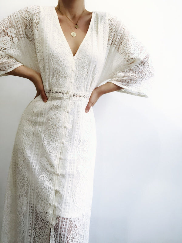 Taj Ivory Lace Bell Sleeve Maxi Dress - amannequin - amannequin