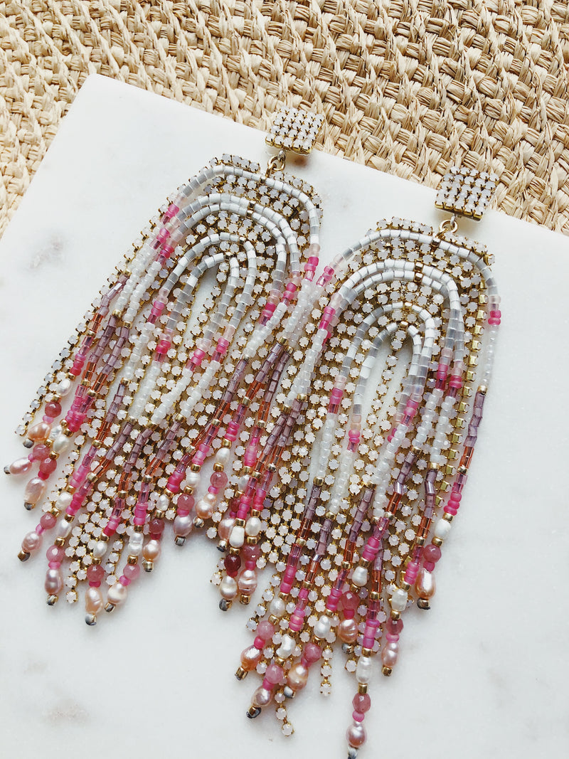 Cora Fringe Beaded & Mother of Pearl Earrings | Pink, Gold | Womens | Earrings | amannequin | Nakamol