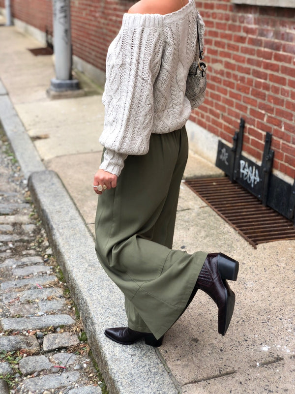 Gai Tencel Wide Leg Pants - Olive Green-pants-grade and gather-AMQN Boutique