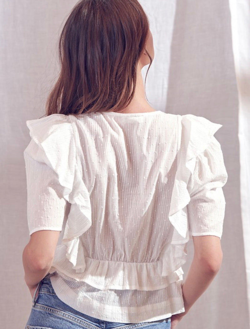 Stacey Ruffle Cotton Top - White