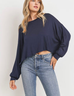 Elsa Puff Sleeve Knit Jersey Basic Top