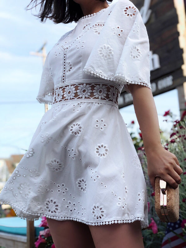Leona White Eyelet Dress-dress-Saints+ Secrets-AMQN Boutique