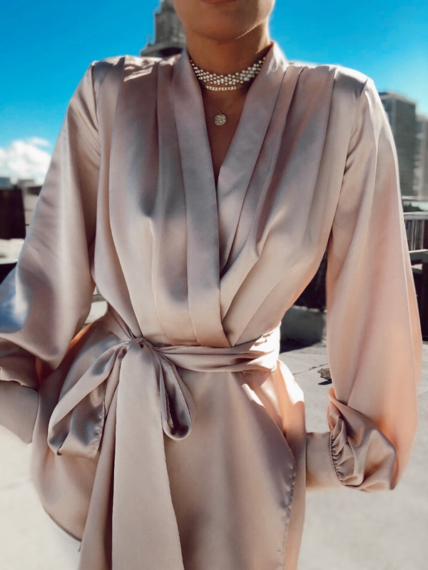 Lorna Satin Puff Sleeve Blouse - Nude