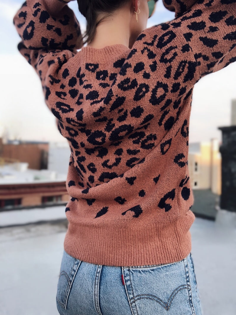 Lacey Leopard Print Puff Sleeve Sweater - amannequin - amannequin