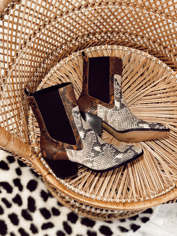DOLCE VITA | SABERN BOOTIES IN BLACK/WHITE SNAKE PRINT LEATHER
