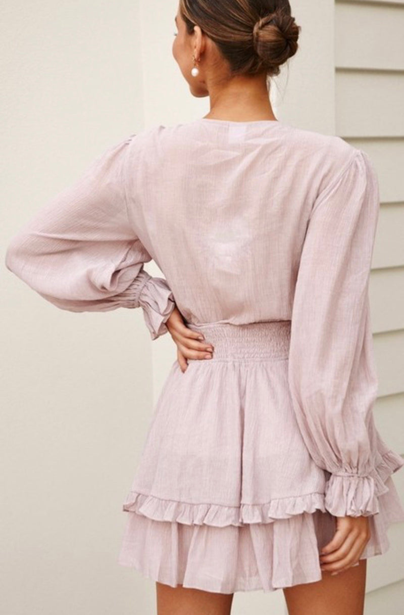 Alexandra Puff Sleeve Tie Front Dress