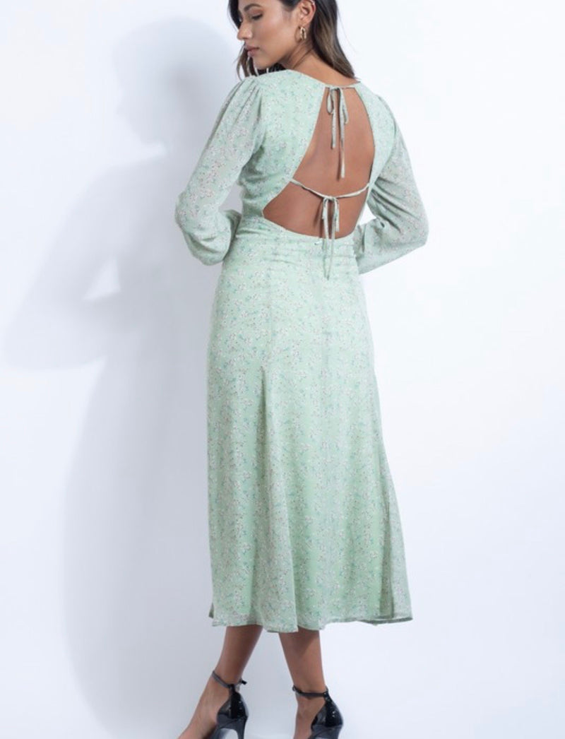 SLOANE FLORAL PUFF SLEEVE MAXI DRESS - SAGE