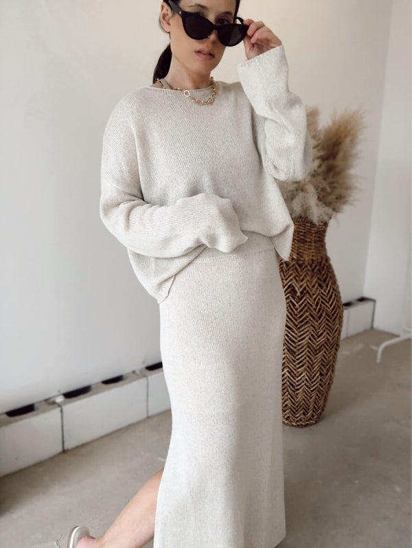 Frenchie Knit Sweater & Midi Skirt Set | Beige