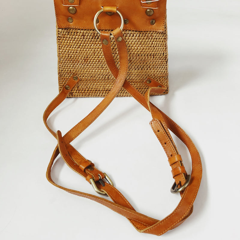 Bali Rattan & Leather Backpack Handbag by Street Level - amannequin - amannequin