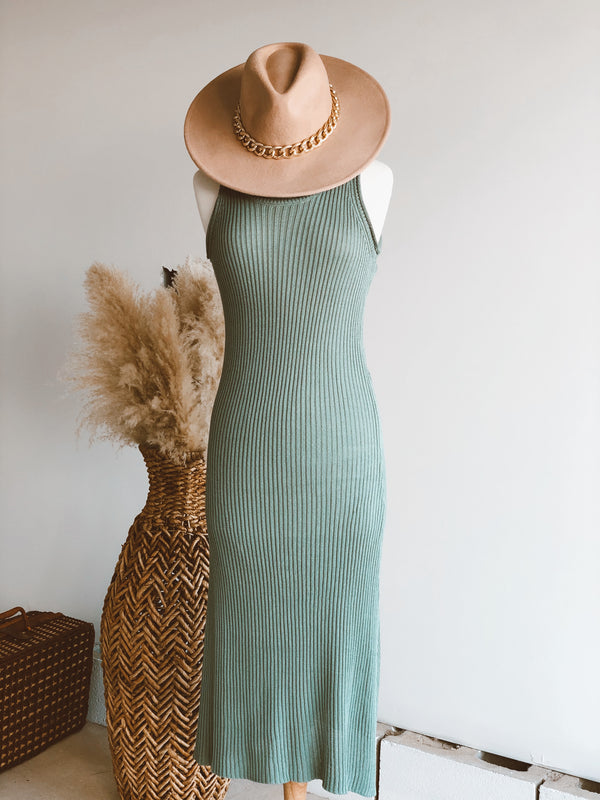Melody Rib Knit Maxi Dress | Green