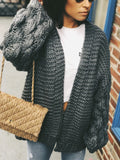 Presley Gray Puff Sleeve Chunky Knit Cardigan Sweater - amannequin - amannequin