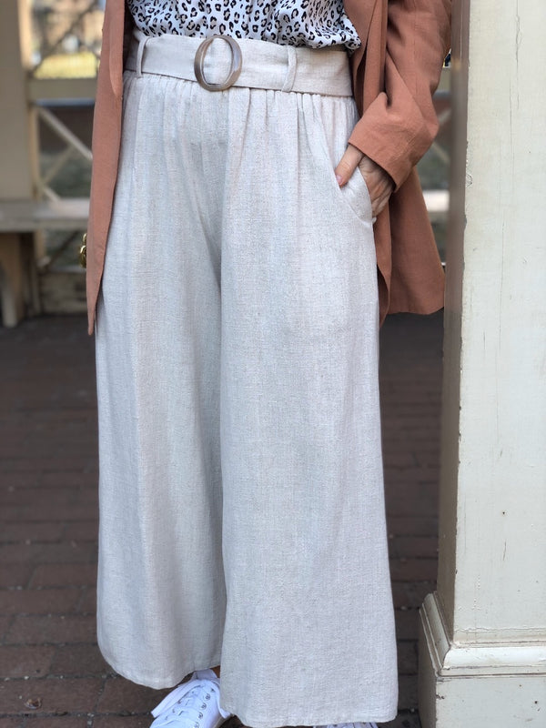 Romy Linen High Waisted Cropped Wide Leg Pants - Beige | amannequin | amqn boutique