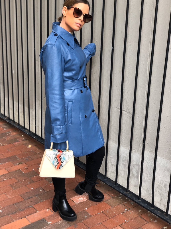 Blue Moon Vegan Leather Trench Coat - Blue-jacket-on twelfth-AMQN Boutique