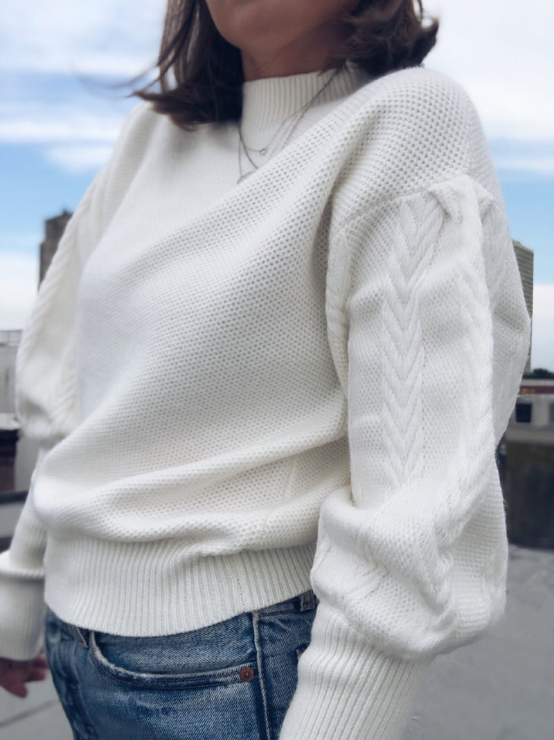 Colette White Cable Knit Puff Sleeve Sweater - amannequin - amannequin