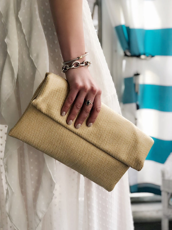 Belize Natural Fold Over Clutch by Street Level - amannequin - amannequin