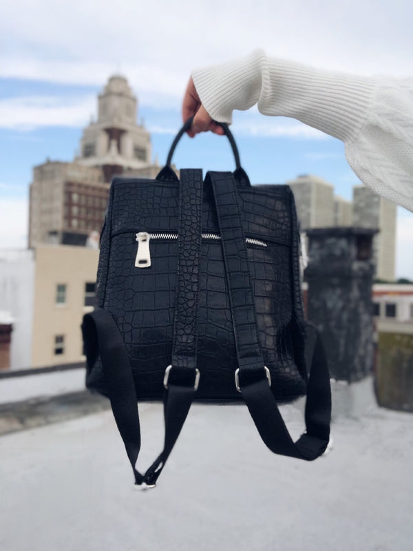 Jude Mock Croc Colorblock Backpack - Urban Expressions-Handbag-urban expressions-AMQN Boutique