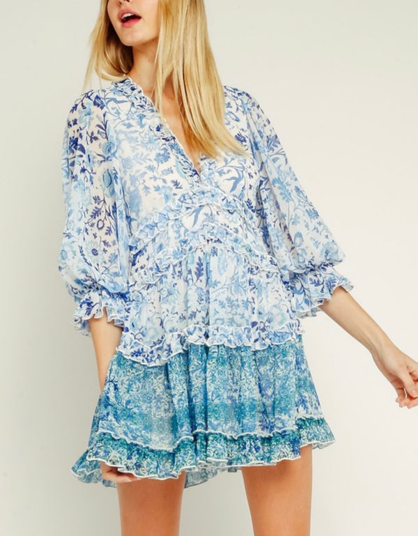 Valerie Blue Floral Puff Sleeve Dress