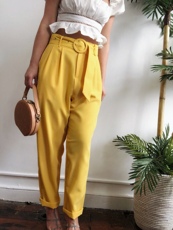 Bodhi Yellow High Waist Tapered Cropped Pants - amannequin - amannequin