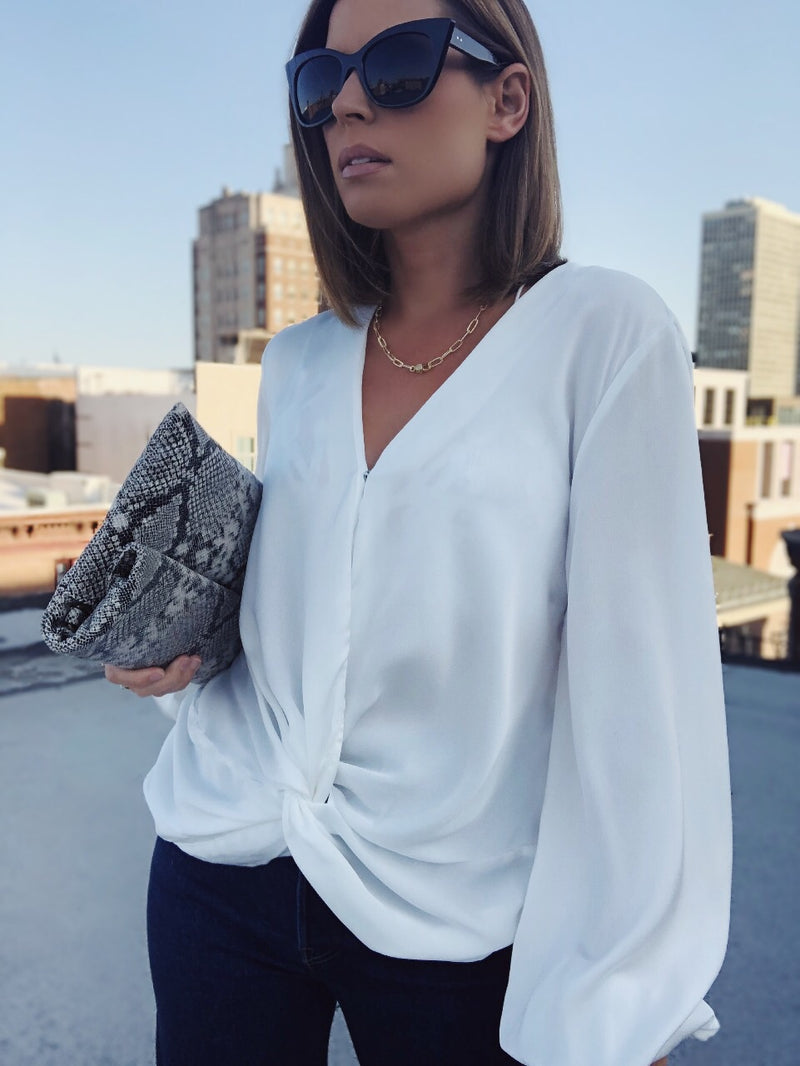 Sofie Twist Front Puff Sleeve Top - White - amannequin - amannequin