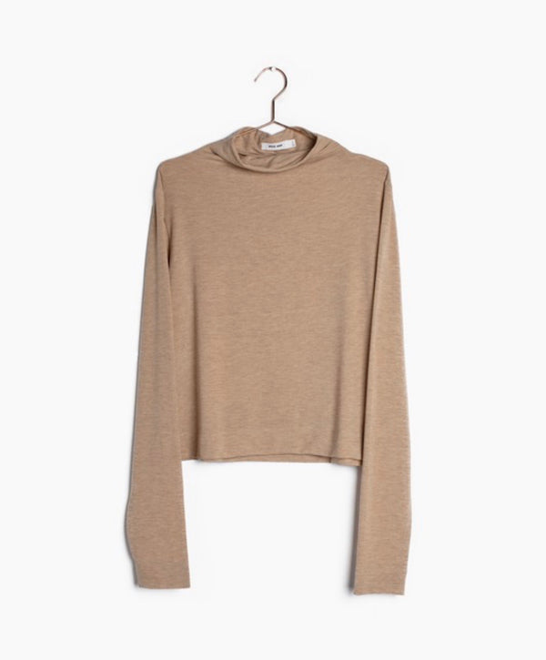 ADELYN KNIT LONG SLEEVE TOP - BEIGE