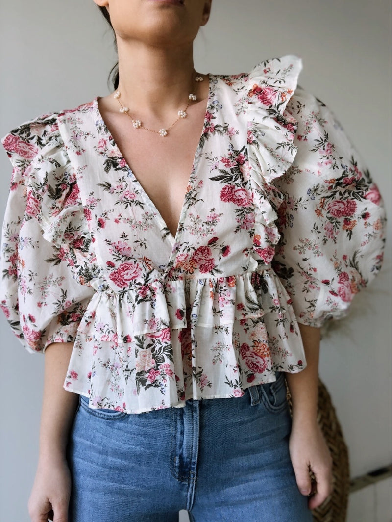 Samantha Floral Baby Doll Top