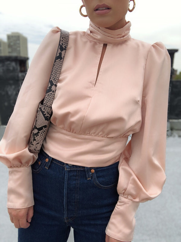 Kelis Satin High Neck Puff Sleeve Blouse - Peach-top-on twelfth-AMQN Boutique