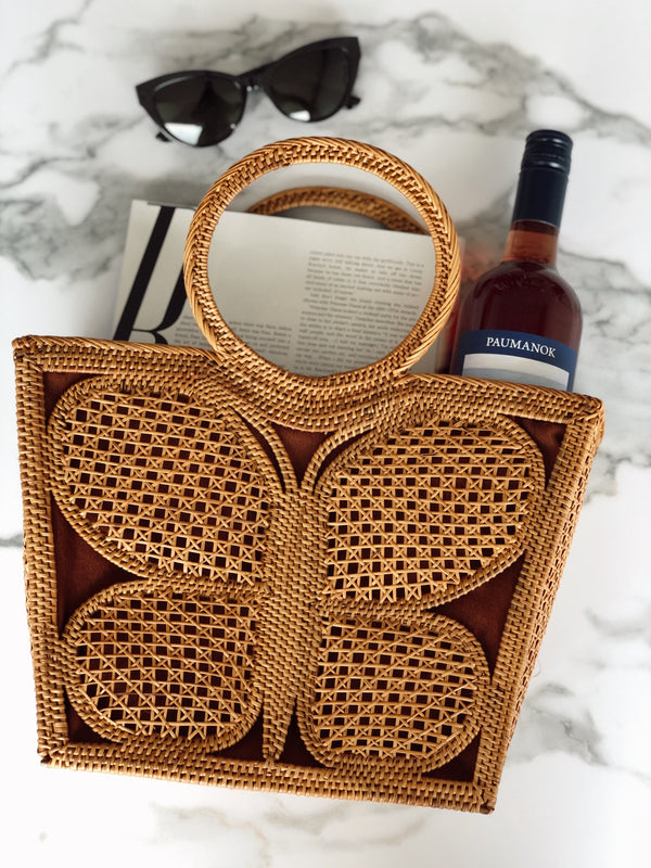 Bahamas Butterfly Rattan Top Handle Bag | Street Level