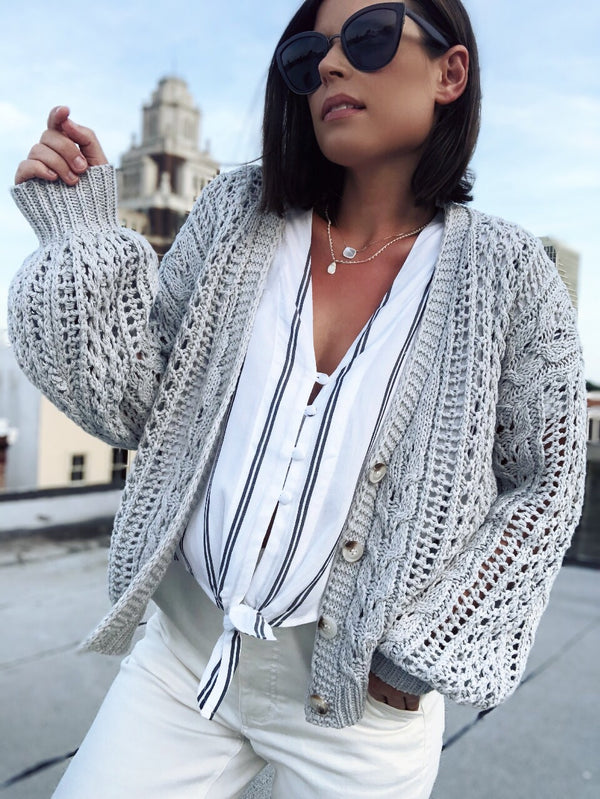 Calista White & Gray Striped Oversized Tie Front Top-top-storia-AMQN Boutique