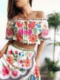 Azul Floral Off the Shoulder Crop Top - amannequin - amannequin