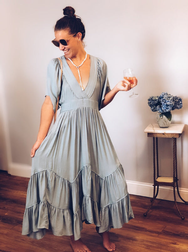 Evie Blue Tiered Ruffle Maxi Dress - amannequin - amannequin