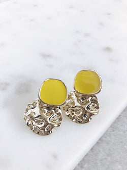 Danica Yellow Enamel Sterling Silver Earrings - amannequin - amannequin