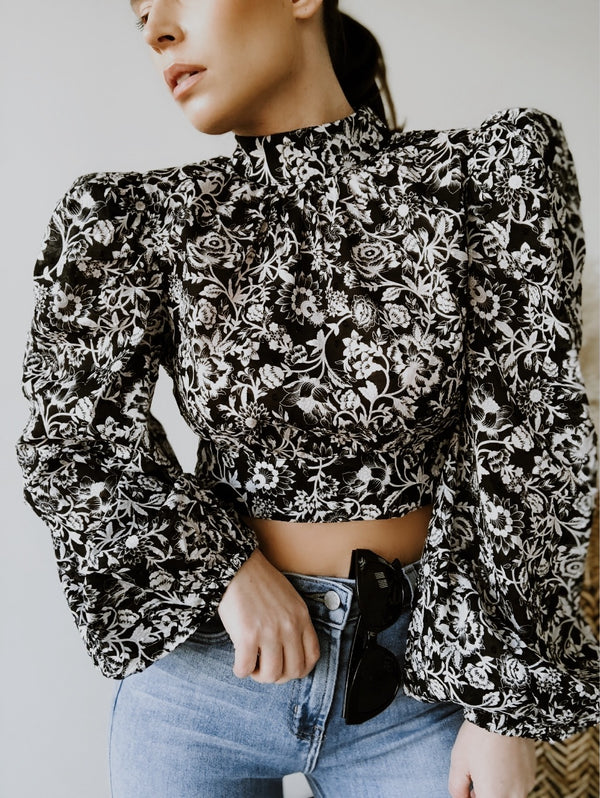 Lenore Floral Open Back Puff Sleeve Blouse