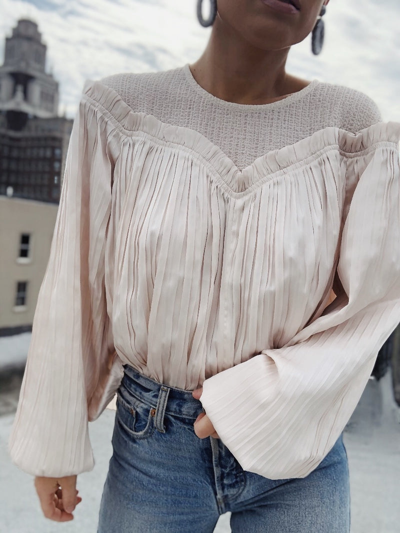 Crystal Pleated Puff Sleeve Blouse - Ecru - amannequin - amannequin