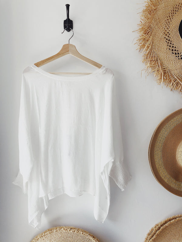 Ray Flowy Smocked Sleeve Blouse - White