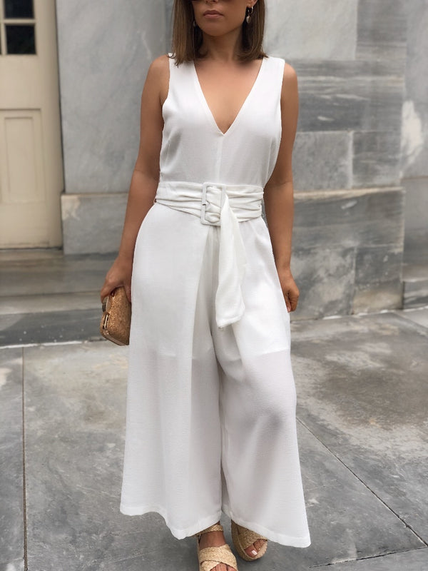 Deanna Cropped Wide Leg Jumpsuit - White