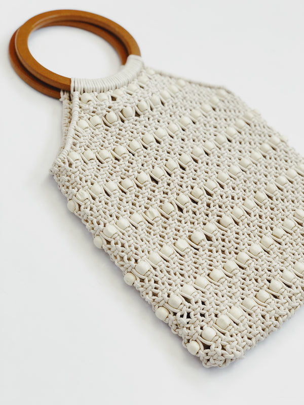 Positano Crochet Beaded Wooden Top Handle Bag by Street Level-Handbag-street level-AMQN Boutique