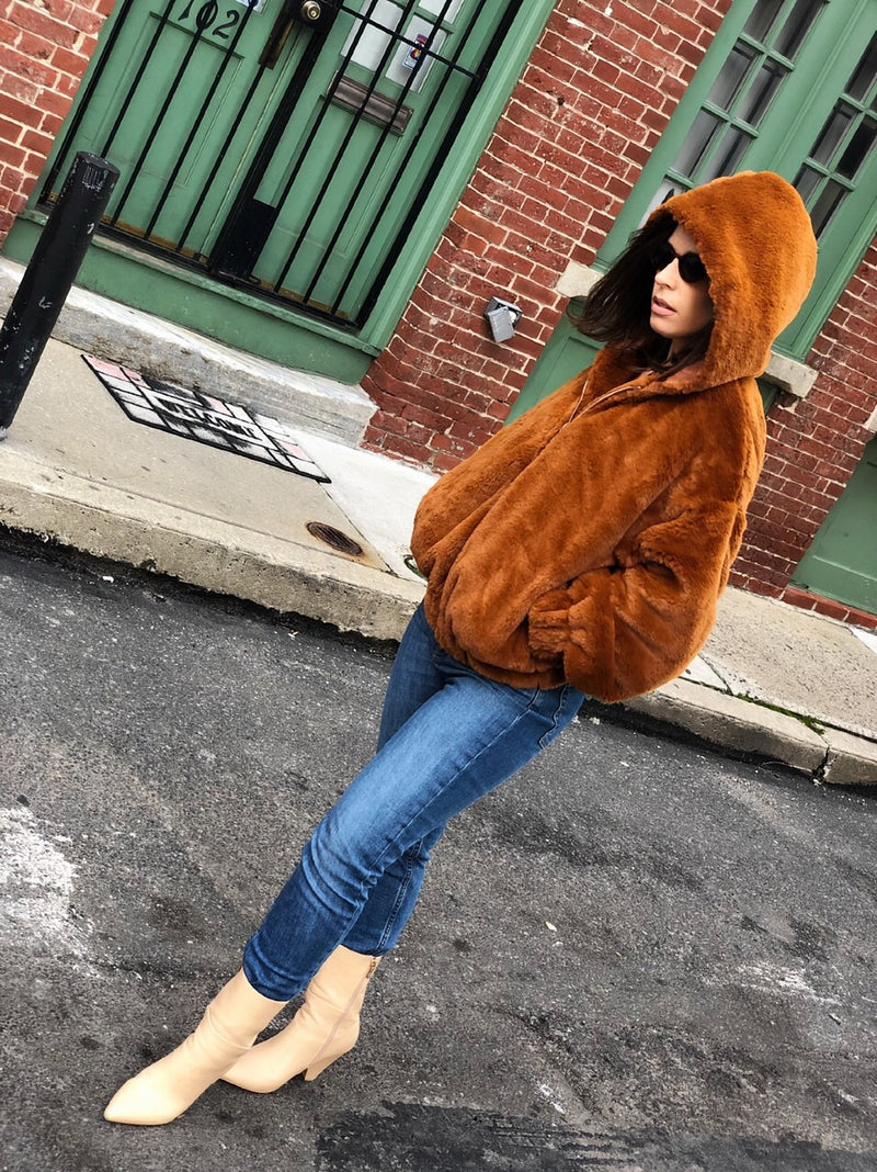 Caramel Brown Hooded Faux Fur Bomber Jacket - amannequin - amannequin