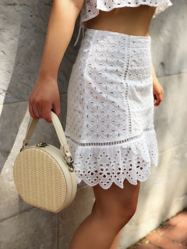 Anya Ivory Mini Woven Circle Tote Handbag by Street Level - amannequin - amannequin