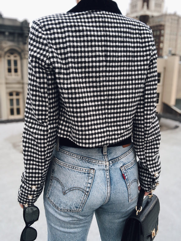 Dara Houndstooth Cropped Jacket - Wild Honey - amannequin - amannequin